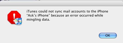 iphone sync error